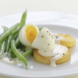 Golden Polenta & Egg with Mustard Sauce