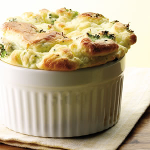 Broccoli & Goat Cheese Soufflé