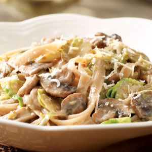 Creamy Fettuccine with Brussels Sprouts & Mushrooms
