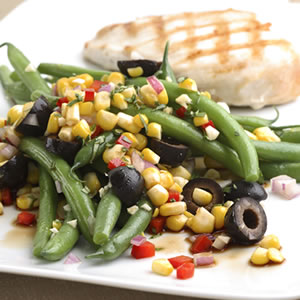 Green Bean Salad with Corn, Basil & Black Olives