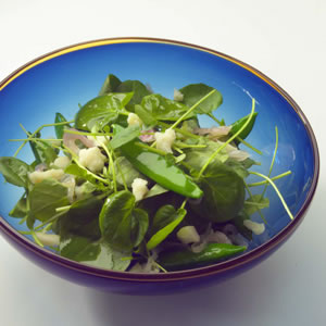 Watercress & Sugar Snap Salad with Warm Sesame-Shallot Vinaigrette