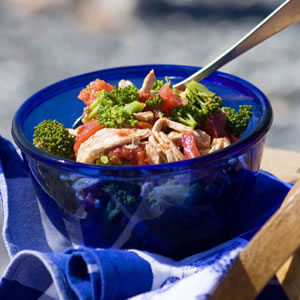 Chicken, Charred Tomato & Broccoli Salad