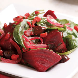 Warm Beet & Spinach Salad