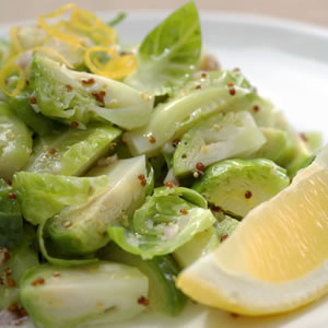 Brussels Sprouts with Walnut-Lemon Vinaigrette