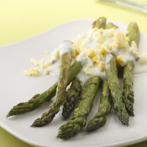 Roasted Asparagus with Garlic-Lemon Sauce
