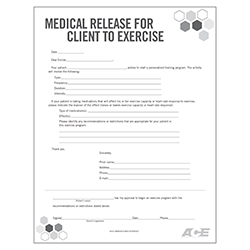 Medical Release for Client to Exercise Form